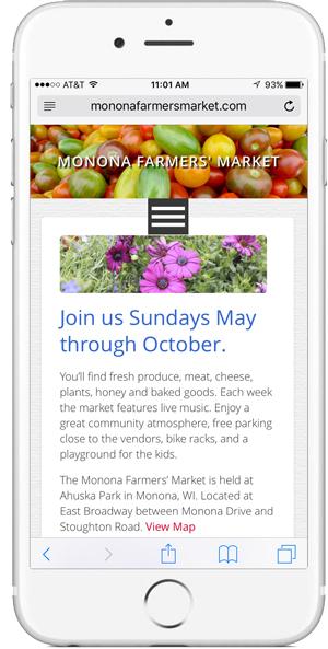 iphone design of Monona Farmers' Market