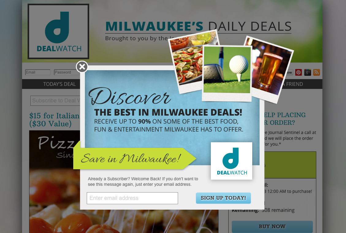 Deal Watch Milwaukee website design