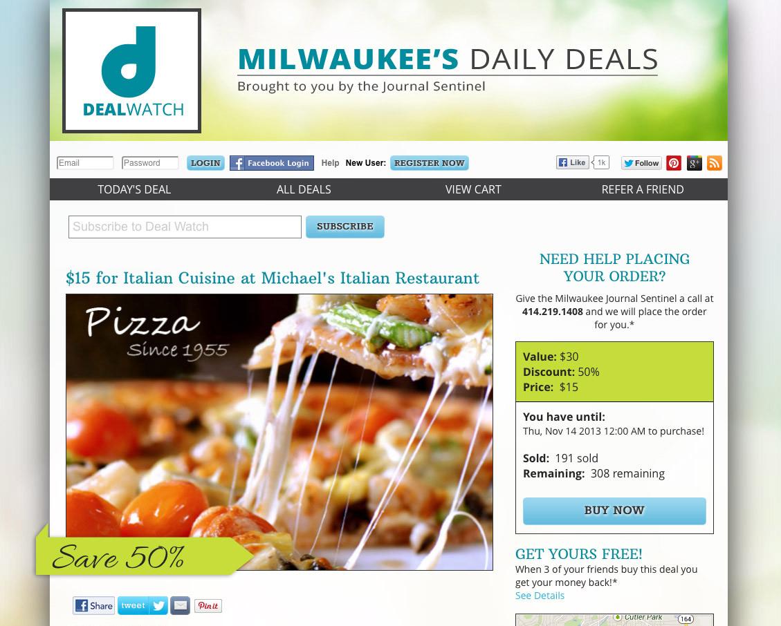 Deal Watch website design